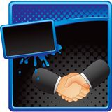Business handshake on halftone grungy banner Royalty Free Stock Images