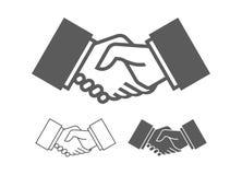Business handshake icons. Monochrome style. isolated on white background stock illustration