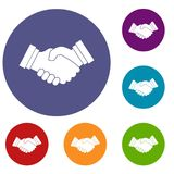 Business handshake icons set. In flat circle reb, blue and green color for web Stock Images