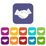 Business handshake icons set. Vector illustration in flat style in colors red, blue, green, and other Stock Photo