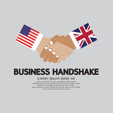 Business Handshake Illustration, USA and UK. Royalty Free Stock Photo