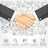 Business handshake Infographics option. Can be used for workflow layout, banner, diagram, number options, step up options, web design Stock Illustration