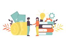 Business handshake investor holds stock illustration