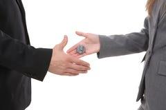 Business Handshake Joke stock image