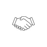 Business handshake line icon, deal agreement. Vector graphics, a linear pattern on a white background, eps 10 stock illustration
