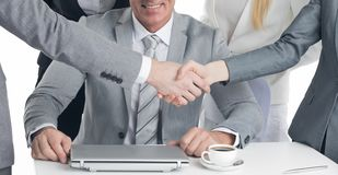 Business handshake at meeting stock photos