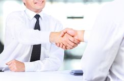 Business handshake at meeting. Royalty Free Stock Photography