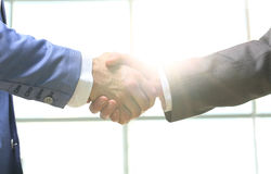 Business handshake. Morning at the office stock photography