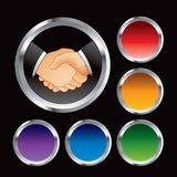 Business handshake in multicolored web buttons Stock Images