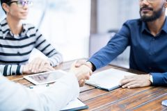 Business handshake at office royalty free stock images