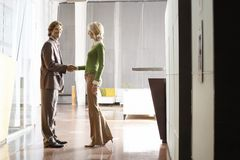 Business Handshake At Office Lobby Stock Photography