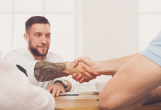 Business handshake at office meeting, contract conclusion and su Stock Image