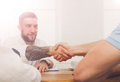 Business handshake at office meeting, contract conclusion and su Stock Photo