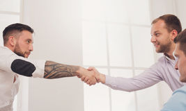 Business handshake at office meeting, contract conclusion and successful agreement Stock Photography