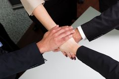 Business handshake over the deal. Taken from above Royalty Free Stock Photography