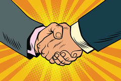 Business handshake, partnership and teamwork. Pop art retro comic book illustration Stock Photo