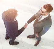 Business handshake and business people concepts. Business handshake of two men demonstrating their agreement Royalty Free Stock Photo