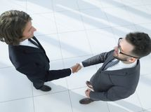 Business handshake and business people concepts. Business handshake of two men demonstrating their agreement Royalty Free Stock Images