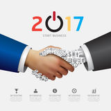 Business 2017 handshake success concept. Abstract elements. Stock Photography