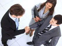 Business handshake and trust taken. From above royalty free stock images