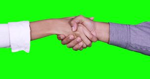 Business handshake of two business people. Closeup of business handshake of two anonymous business people in front of green screen background in the studio. Shot stock video footage