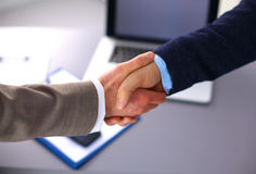 Business handshake. Two businessman shaking hands Royalty Free Stock Photo