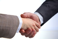 Business handshake. Two businessman shaking hands with each other in the office Stock Image
