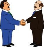 Business Handshake. Two businessmen shaking hands making deal or agreement vector illustration