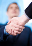 Business handshake among two corporates. The deal is locked, congratulations Stock Photo