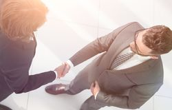 Business handshake and business people concepts. Business handshake of two men demonstrating their agreement Royalty Free Stock Image