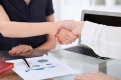 Business handshake. Two women are shaking hands after meeting or  negotiation. Royalty Free Stock Image