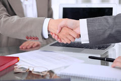 Business handshake. Two women are shaking hands after meeting or  negotiation. Royalty Free Stock Photo