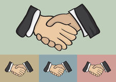 Business Handshake Vector Illustration. Vector cartoon hands of businessperson of different ethnicity in handshake isolated on different color backgrounds Stock Photography