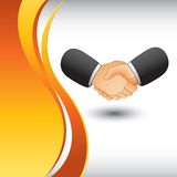 Business handshake on vertical wave backdrop Stock Photo