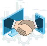 Business handshake, via phone and laptop. Online conclusion of transaction. Strategy success, financein ideas. illustration stock illustration