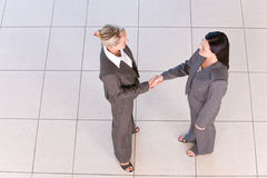 Business handshakes. Business women shaking hands in the workplace stock image