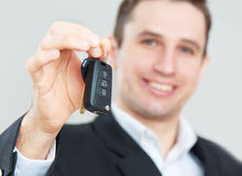 Business happy man holding car keys Stock Images