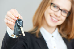 Business happy woman holding car keys Stock Images