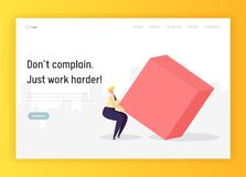 Business Hard Work Competition Concept Landing Page. Character Move Geometric Heavy Shape. Leadership Goal Effort. For Career Growth Website or Web Page. Flat royalty free illustration
