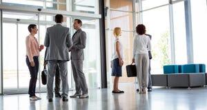 Business having an informal meeting stock images