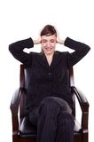Business headache. Business woman with problems holding head with hands Royalty Free Stock Photography