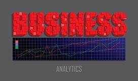 Business header text and market chart graph. Business text embem with mosaaic effect, analytics graphs screen. Market analysis, e-commerce concept. Vector Stock Image