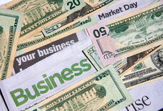 Business headline and money Royalty Free Stock Image