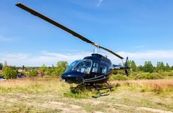 Business helicopter Bell Jet Ranger III waiting for passengers Royalty Free Stock Photo