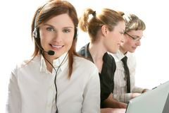 Business helpdesk with beautiful woman. And headphones micro Stock Photo