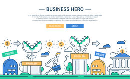 Business hero line flat design banner with business challenge Stock Image