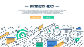 Business hero line flat design banner with superhero businessman Stock Photo