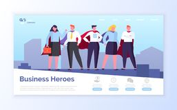 Business Heroes in City, Team of Man and Woman. Heroes in field of business vector, man and woman wearing formal clothes standing on top of skyscraper, people royalty free illustration