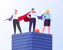 Business Heroes Man and Woman Standing on Top. Heroes in business vector, man and woman wearing formal suit and cloaks flat style. Businessman and businesswoman stock illustration