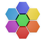 Business Hexagon Chart Diagram. Business project management 3d chart, infographic design concept with colorful hexagon plan cycle diagram isolated on white Royalty Free Stock Photography